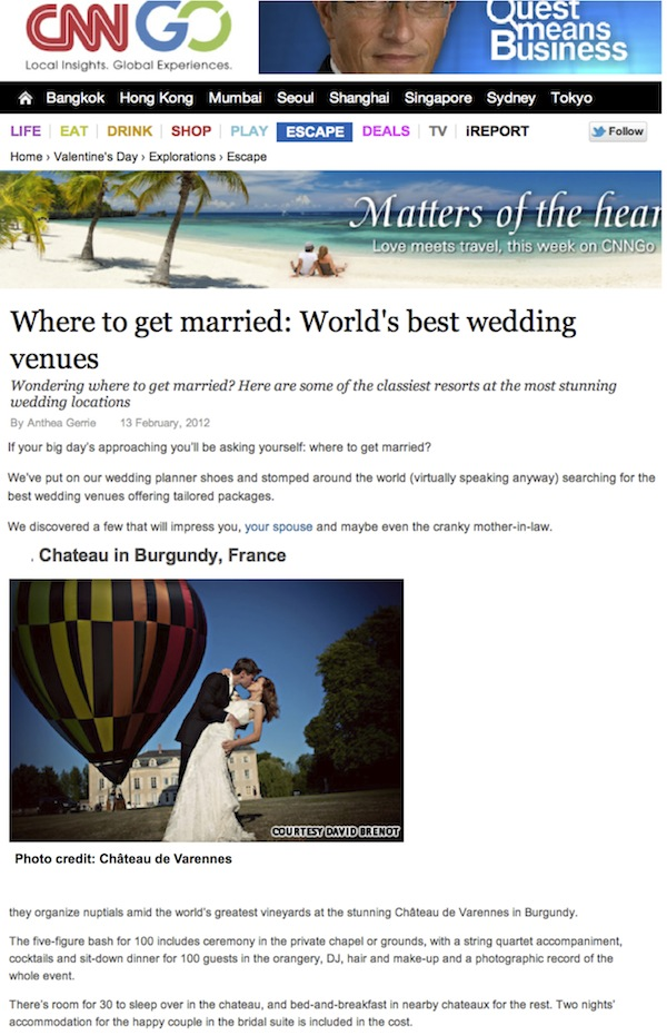 cnn_press article_best wedding venues_Chateau Varennes